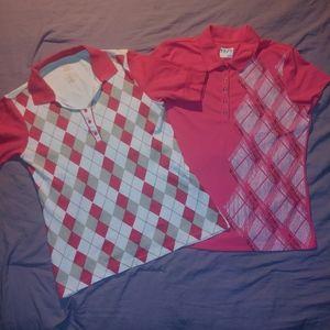 2 Izod Golf Short Sleeve Collar Shirts Size Med